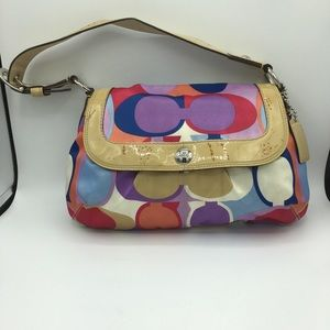 Coach Multi-Colored Hobo With Patent Leath…
